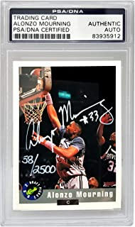 Alonzo Mourning Signed Georgetown Classic 1992 Draft Picks Trading Card #2 - (PSA Encapsulated) - Unsigned Basketball Cards