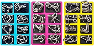 elecnewell IQ Puzzle Brain Teaser Set of 24 Brain Teasers Metal Wire Puzzle Toys - Assorted Metal Puzzle Toys for Gifts, P...
