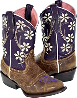 Girl's Purple & Brown Kids Floral Leather Cowgirl Boots Snip 10 Toddler