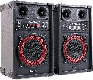 Skytec SPB-8 Pack Enceintes Amplifié DJ - Haut parleurs avec Subwoofer 20cm (400W, Connexion Micro, USB, SD et MP3)