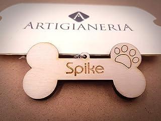 ArtigianeriA - Portachiavi in legno a forma di OSSO con ORMA di CANE, personalizzato con nome a scelta. Incisione realizza...