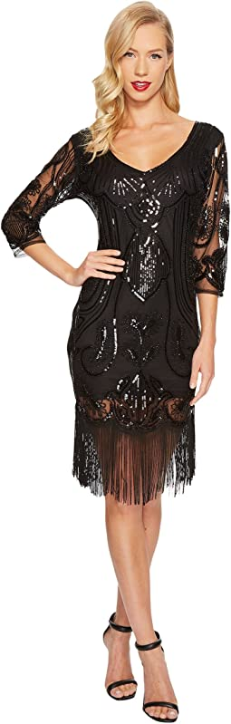 Unique Vintage - Margaux Sleeved Fringe Flapper Dress