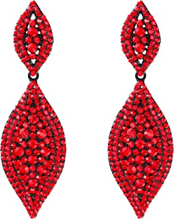 Flyonce Women's Austrian Crystal Wedding Bridal Charm 2 Leaf Drop Dangle Earrings