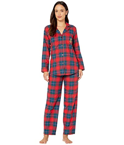 LAUREN Ralph Lauren Petite Brushed Twill Long Sleeve Notch Collar Long Pants Pajama Set (Red Plaid) Women