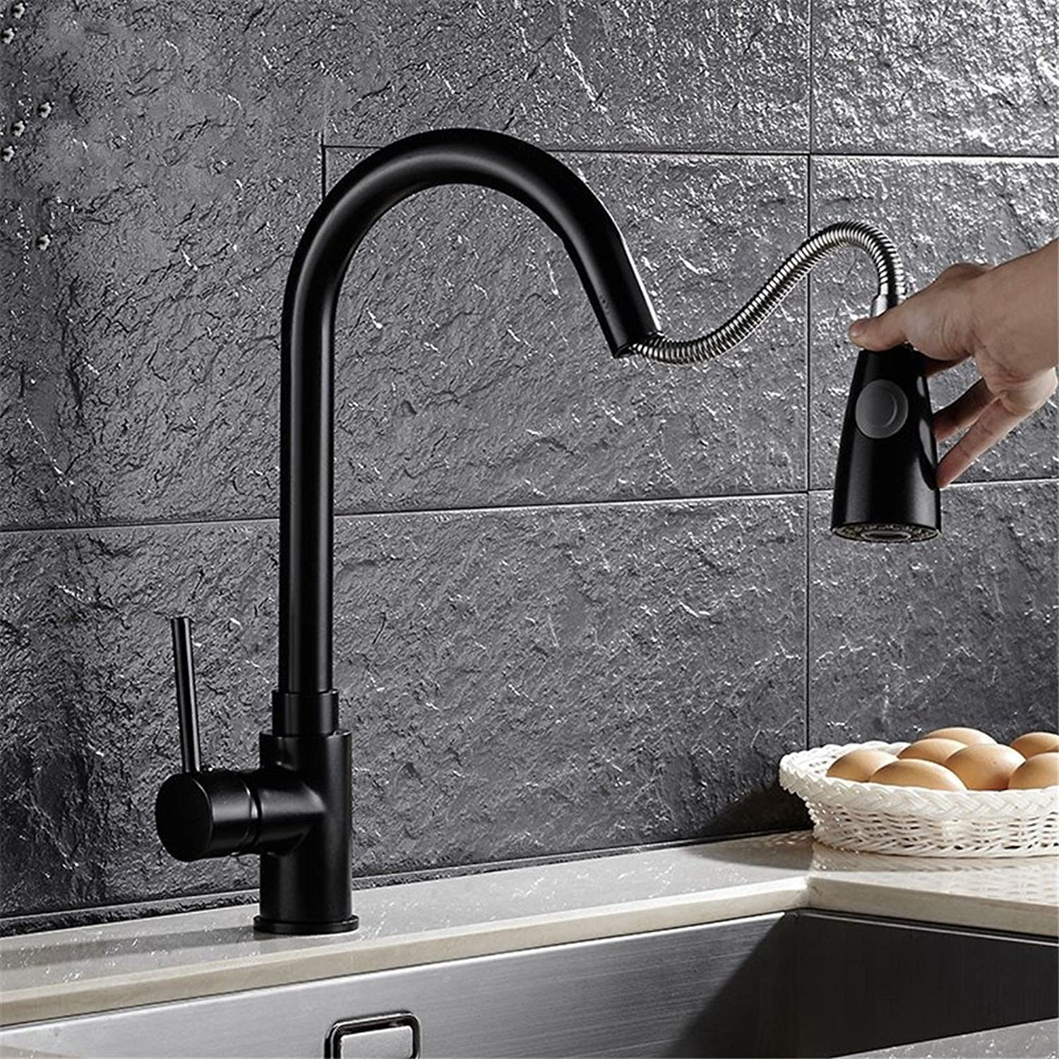 Commercial Single Lever Pull Down Kitchen Sink Faucet Brass Constructed Polished Kitchen Pull-Out Dual Mode Outlet Faucet Sink Sink Hot and Cold redating Black Faucet