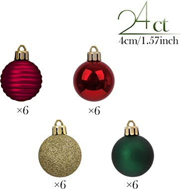 Valery Madelyn 24ct 40mm Country Road Red Green and Gold Basic Ball Shatterproof Christmas Ball Ornaments Decoration,Themed with Tree Skirt(Not Included)