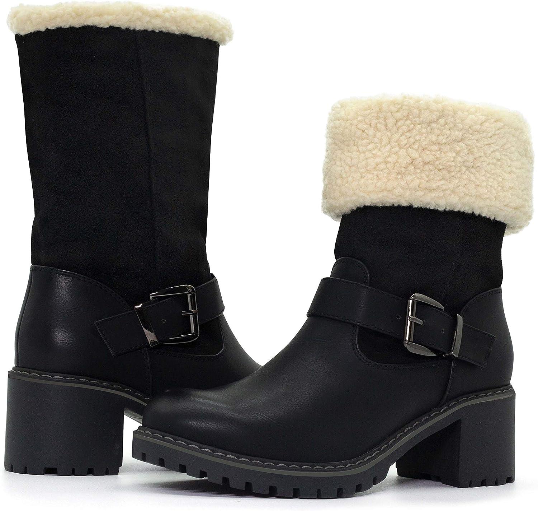 katliu Women Cute Warm Boots Chunky Mid Heel Round Toe Winter Snow Ankle Booties