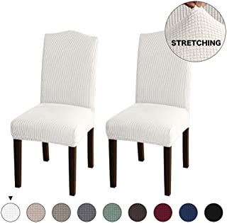 Turquoize Stretch Dining Room Chair Covers Jacquard Removable Washable Kitchen Parson Chair Slipcovers Chair Protector Cover for Hotel, Dining Room, Ceremony, Wedding Party Set of 2, Ivory
