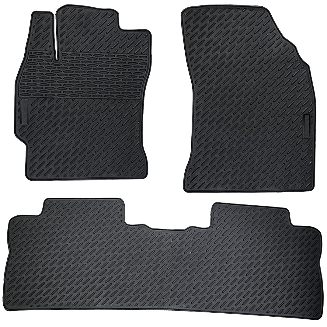 BLACK 2014-2015 Toyota Corolla Floor Mats 3-Piece Set, Heavy Duty All Weather Floor Mats