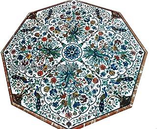 Gifts And Artefacts Table de salle à manger faite à la main en marbre de forme octogonale avec meubles de jardin Pietra Du...