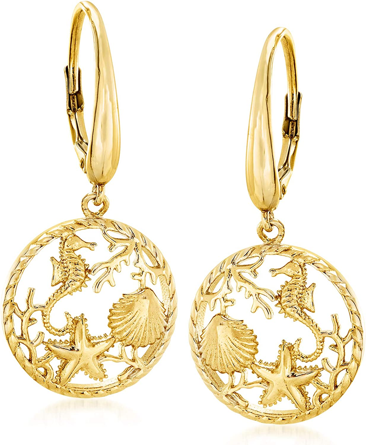 Ross-Simons 18kt Yellow Gold Over Sterling Silver Sea Life Drop