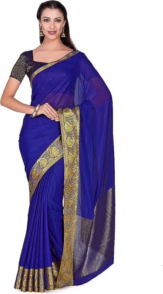 Indian MIMOSA Women's Art Chiffon Silk Kanjivarm Pattu style Saree with Double Blouse for Wedding Color: Blue (4271-2216-SD-NVY) Saree