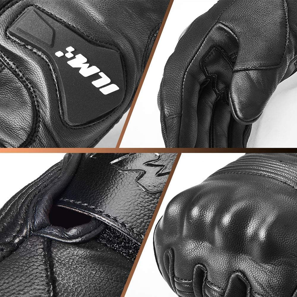M, Black Perforated ILM Goatskin Leather Motorcycle Motorbike Powersports Racing Gloves Touchscreen for Men and Women Black