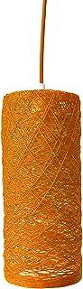 Lámpara de techo colgante cilíndrica naranja decorativa de hilo de algodón, artesanal, hecha a mano CYLINDER