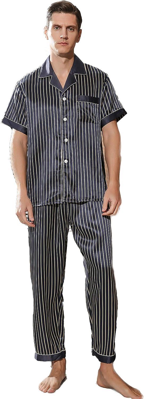 CLC Men's Silk Pajama Sets Striped Sleep Sets