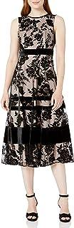 Taylor Dresses Women's Sleeveless Flocked Midi Dress