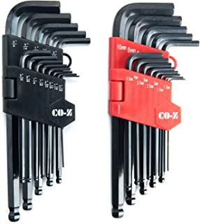 CO-Z Allen Wrenches, 26pcs Metric/Inch/Standard Hex Key Set, Ball End Long Allen Wrench Set, Folding Hex Allen Keys with Knotched End, Complete L-Wrench Hex Tools Kit for Turning Screws with Case
