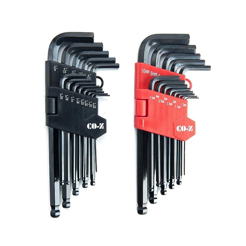 圧倒する特定の独立したCO-Z L型 六角棒レンチ セット ボールポイント ロング六角棒レンチセット インチ&メートル 精密 各13本組 26本セット