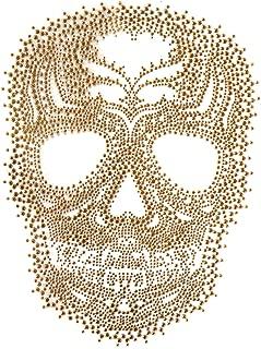 Rhinestone Iron on Transfer Hot Fix Motif Fashion Design Gold Skull Tattoos 1 Sheets 8.2*11.4inch