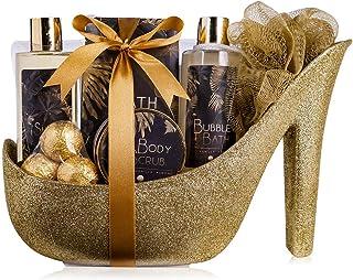 accentra Luxury Badeset Geschenkset in wunderschönem goldenem Glitzer Pumps, 9-teiliges Luxus Beautyset Pflegeset Duschset...