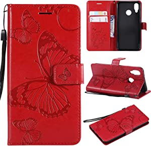 Huawei P20 Lite Case THRION Butterfly Leather Flip Wallet Cover with Card Slot Holder and Magnetic Closure for Huawei P20 Lite  Red