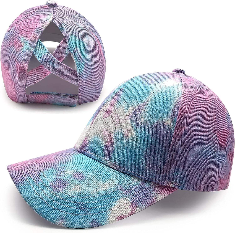 Women Tie Dye Ponytail Criss Cross Baseball Caps