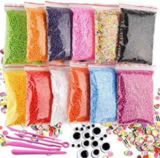 KUUQA 12 Packs Slime Foam Beads Micro Polystyrene Styrofoam Balls with Tools and Fruit Slime for Slime Making Craft Supplies Slime Party Decorations 0.08-0.15 Inch(Contain No Slime)