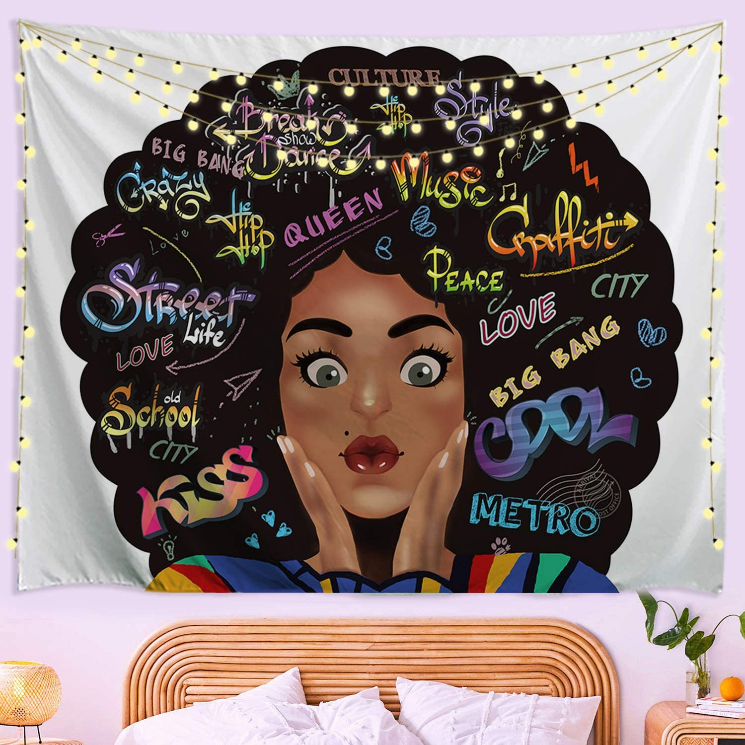 Baccessor Black Girl Tapestry Hippie Max 52% OFF C NEW before selling African American Art