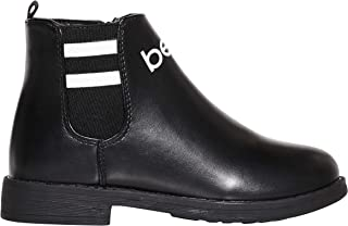 bebe Girls Big Kid Varsity Chelsea Boots Easy Slip-On Short Ankle Fashion PU Shoes Size 12 M US Little Kid Black