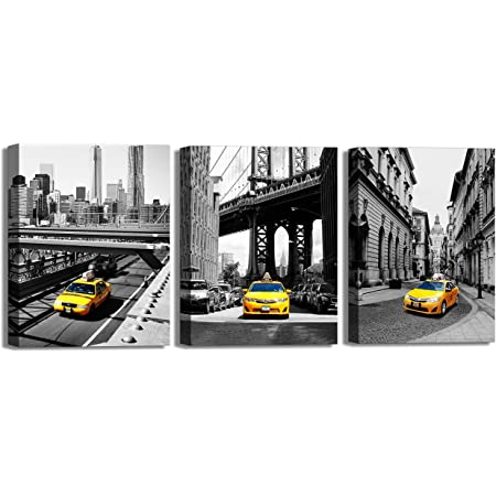 BLACK AND WHITE PICTURES CANVAS WALL ART NEW YORK YELLOW TAXI PRINTS DECORATION