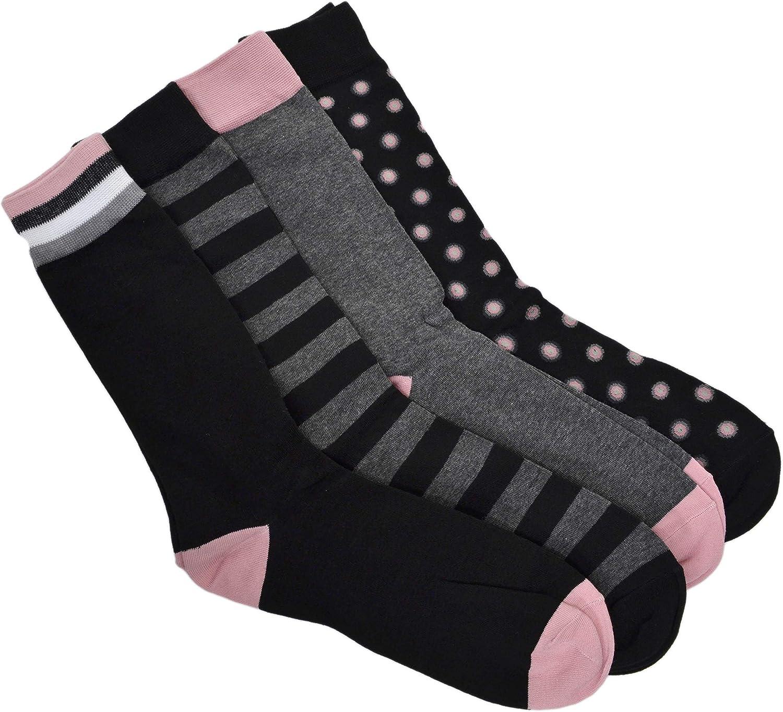Bar III Men's 4 Value Pack Dress Socks Created for Macy's Black Pink Dot Stripes Shoes Size 7-12 Sock/Size 10-13