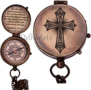 Be Strong and Courageous Verse and Cross Engraved on Working Compass, Confirmation Gift Ideas, Birthday, get Well Soon, Gr...
