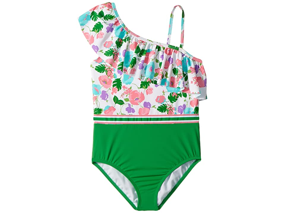 Janie and Jack Color Block Stripe One-Piece Swimsuit (Toddler/Little Kids/Big Kids) (Floral Color Block) Girl