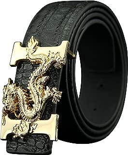 Letter H Dragon Buckle Alligator Pattern Leather Mens Belt