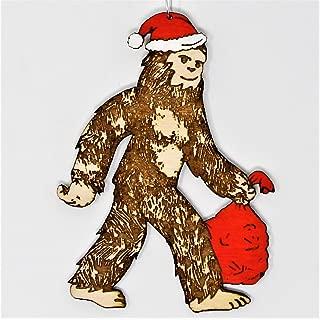 Santasquatch Christmas Ornament   Hand Made Bigfoot Santa Sasquatch Holiday Gift