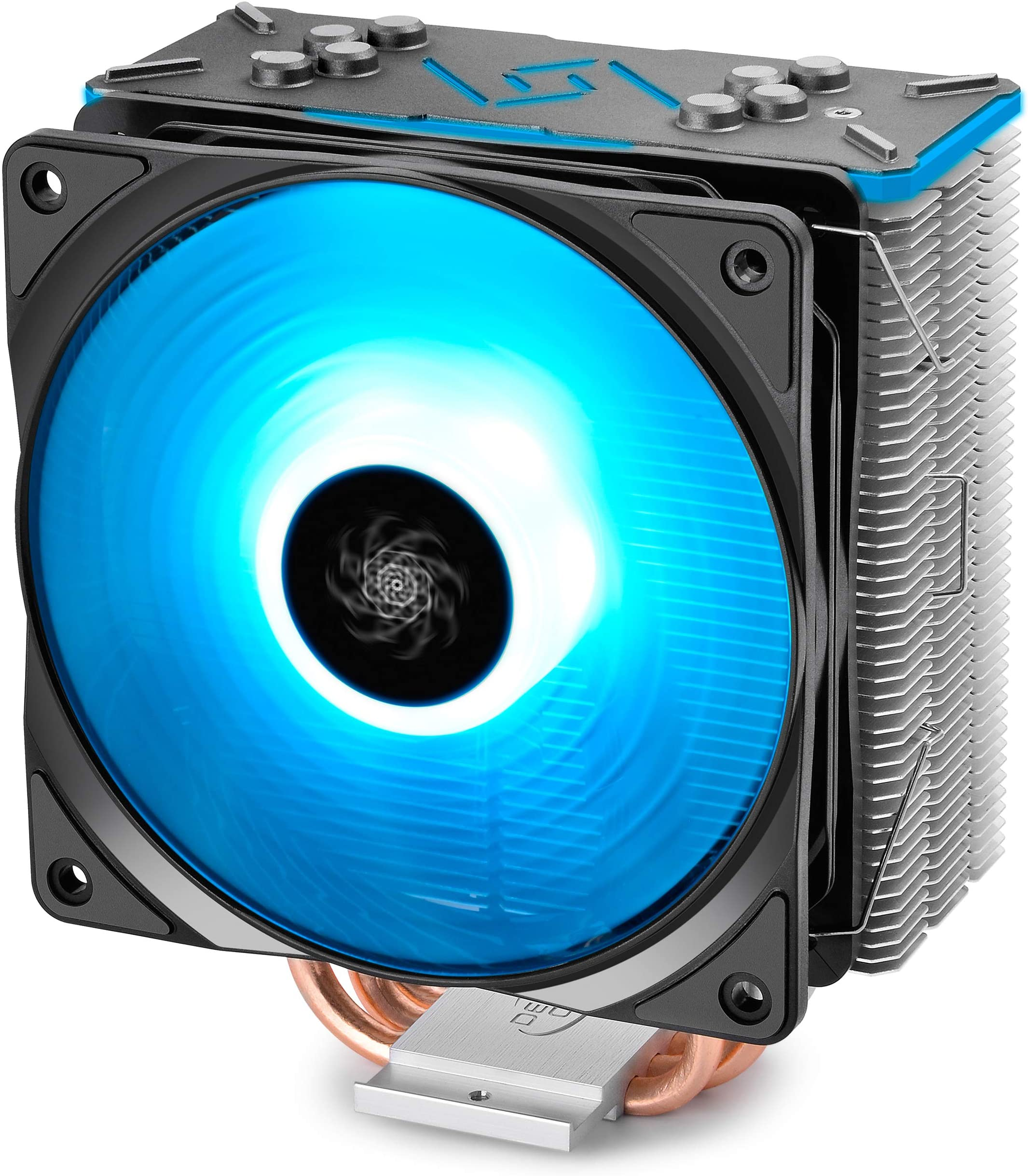 DEEPCOOL GAMMAXX GT BK, CPU Air Cooler, SYNC RGB Fan and RGB Black Top Cover, Cable or Motherboard Control Supported, 4 Heatpipes, 120mm RGB Fan, Universal Socket Solution