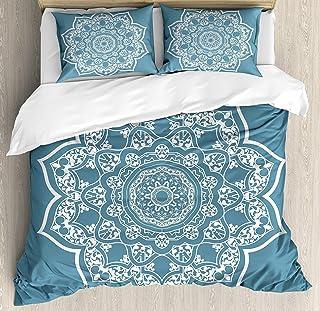 Juego de funda nórdica Lotus 3 PCS, símbolo étnico cultural, mandala floral con patrón de encaje, patrón boho, juego de cama, colcha para niños / adolescentes / adultos / niños, azul pizarra TWIN / TW
