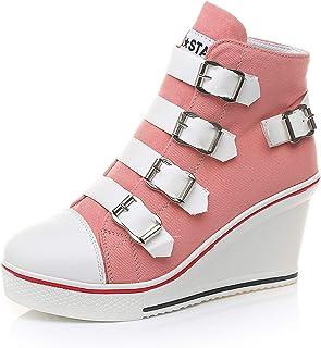 MEWOW Women's Wedge Canvas Sneaker High Heel Canvas Trainer Zipper Buckles Shoes