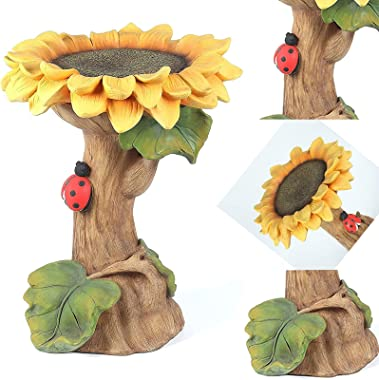 Polyresin Sunflower Bird Bath,Polyresin Sunflower Bird Bath Garden Ornament with Ladybutt,Polyresin Sunflower Bird Bath for O