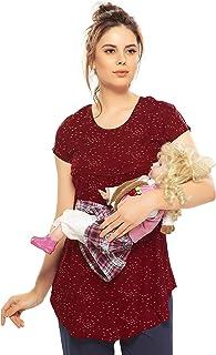 ZEYO Women's Rayon Cotton Nightwear Maternity Top | Maroon Red & Navy Blue Printed Feeding Top