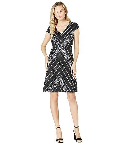 Adrianna Papell Botanical Chevron Fit and Flare Dress (Black/Ivory Multi) Women