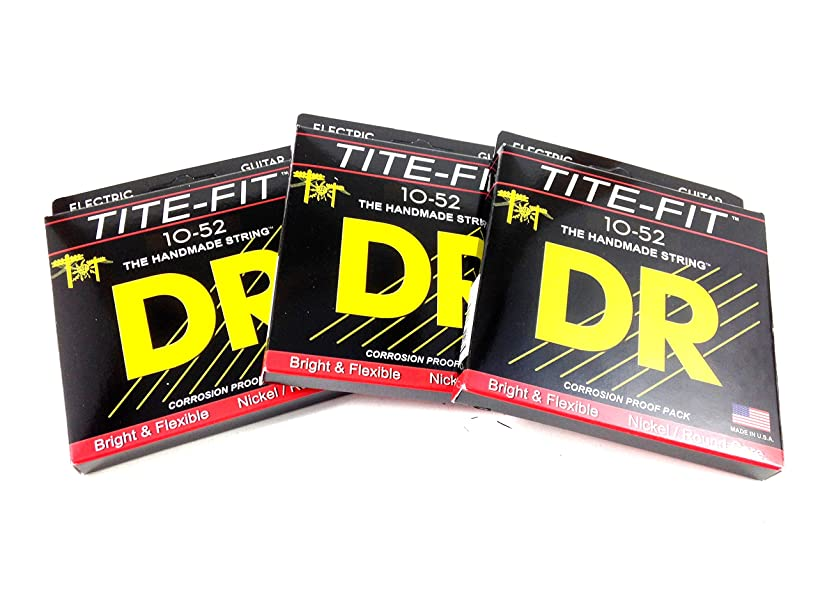 DR Guitar Strings Electric 3 Pack Tite-Fit 10-52 Big & Heavy Handmade USA