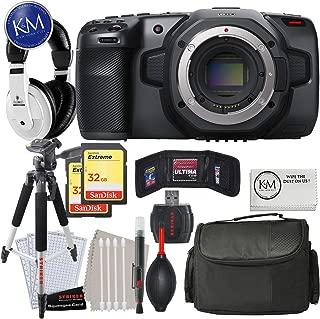 Blackmagic Design Pocket Cinema Camera 6K (Canon EF) with Advance Bundle: Includes Headphones, Large Bag, Large Tripod, Striker Cleaning Kit, 32GB Memory Card x 2