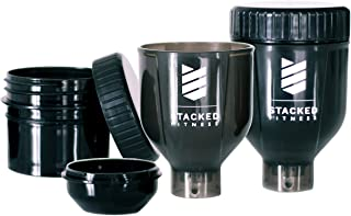 Stacked Pack; Compact, Portable, 3 in 1 Water Bottle Funnel with Two Nesting Supplement Storage Cups for Protein, Pre Work...