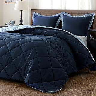 downluxe Lightweight Solid Comforter Set (Queen) with 2 Pillow Shams - 3-Piece Set - Blue and Sapphire - Down Alternative Reversible Comforter