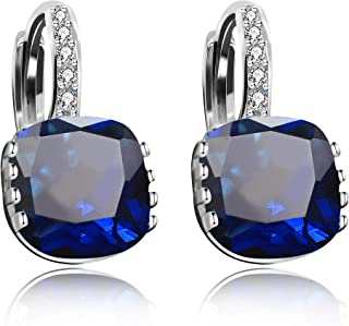 Women's Platinum Plated Cubic Zirconia Square Crystal Lever Back Earrings (Blue,Pink,Purple,White) DML115