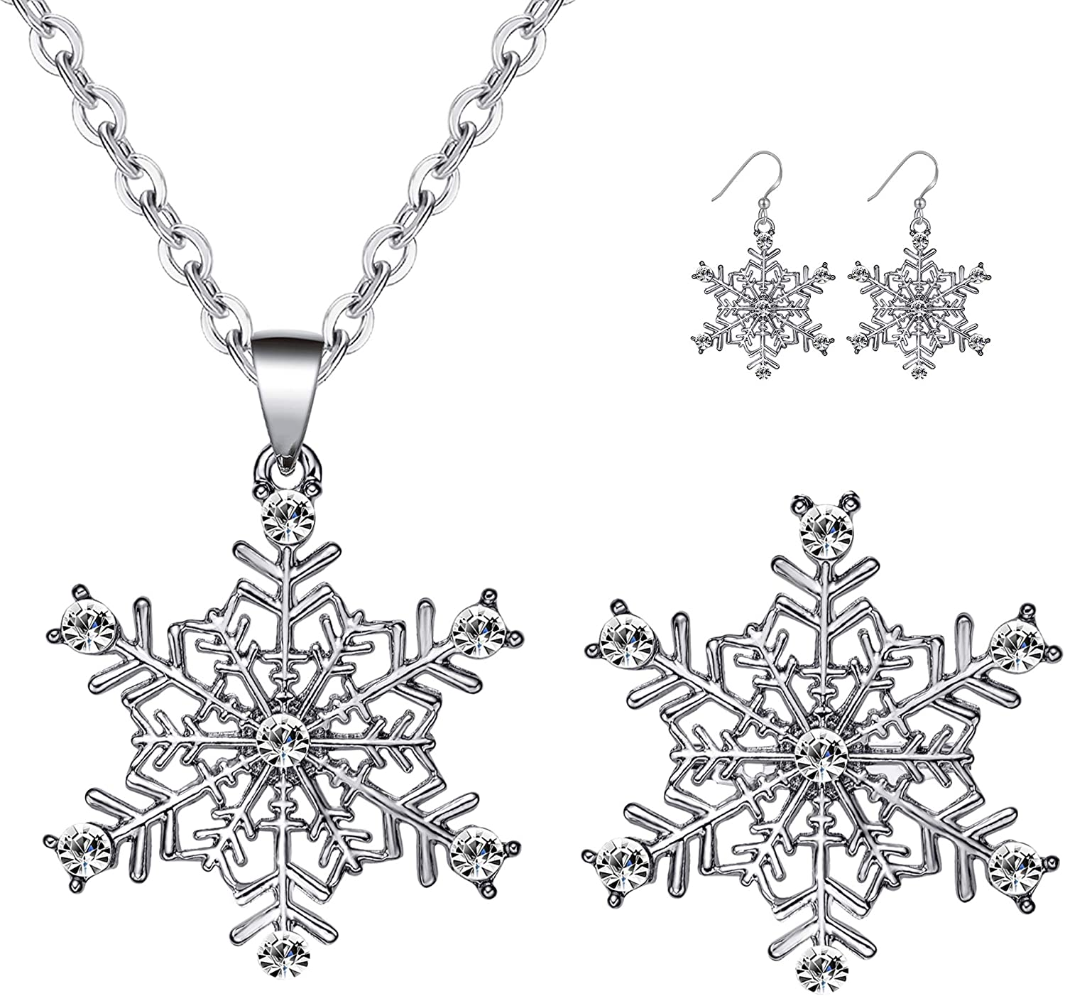 MMIRACULOUS GARDEN 3-5 Pack Christmas Jewelry Sets for Women Girls, Enameled Xmas Holiday Jewelry Maple Leaf Snowflake Pendant Necklace Brooches Pins Earrings Set