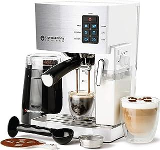 Espresso Machine, Latte & Cappuccino Maker- 19 Bar Pump, 10 pc All-In-One Espresso Maker with Milk Steamer (Incl: Coffee B...