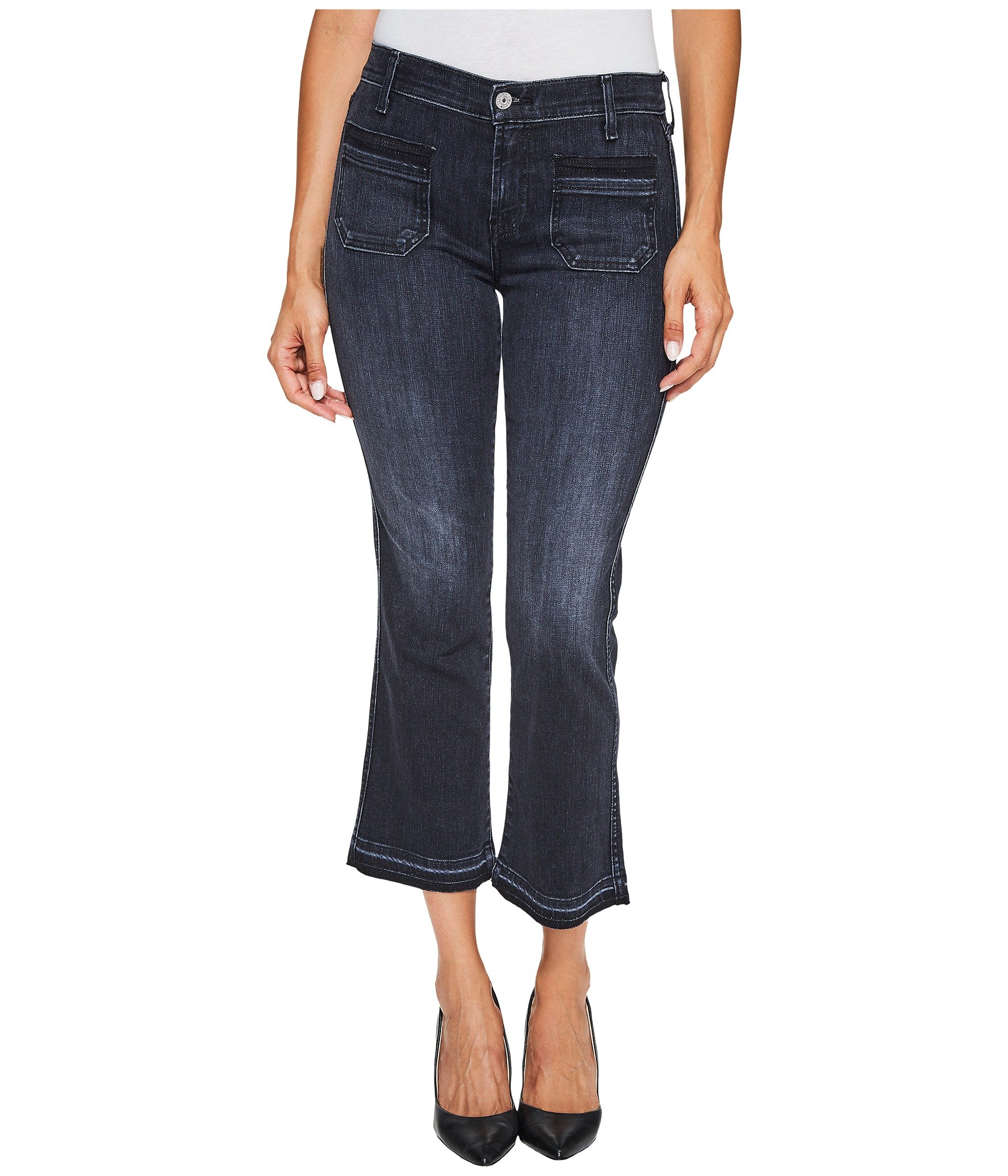 Cropped Boot Jeans w/ Front Released Pockets & Released Hem in Authentic Black 2