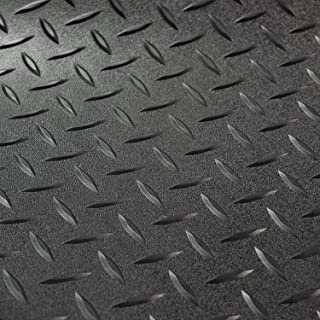 RV Trailer Diamond Plate Pattern Flooring | Black | 8' 6
